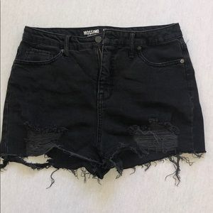 BLACK HIGH WAISTED DISTRESSED DENIM SHORTS